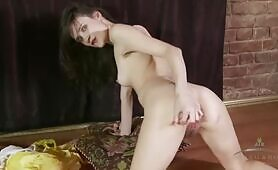 ATK Engelina removes her yellow dress to play with her hairy pink pussy