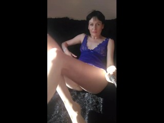 Russian milf fingering nipples and cums showing furry bushfootfetish. hairy woman GinnaGg