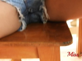 HD HAIRY underarms And WETTING SHORT JEANS OUTDOOR POV - MissAnja
