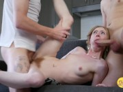 Tiny natural young lady takes two giant penises at once with a cream pie finish